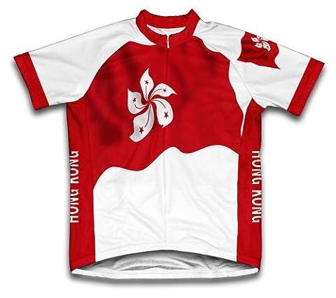 Hong Kong Drapeau Maillot de cyclisme à manches courtes pour homme moyen Blanc - blanc