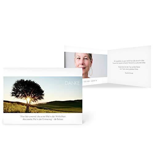 greetinks 50 x Trauer Danksagungskarten \'Sonnenuntergang\' in Weiß   Personalisierte Karten zur Trauer zum selbst gestalten   50 Stück Dankeskarten