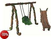 Set scivolo e altalena in miniatura per fate e gnomi - Accessorio per giardino fatato