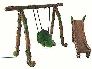 ensemble balan oire et toboggan miniature pour nain et f e accessoire jardin f erique amazon. Black Bedroom Furniture Sets. Home Design Ideas