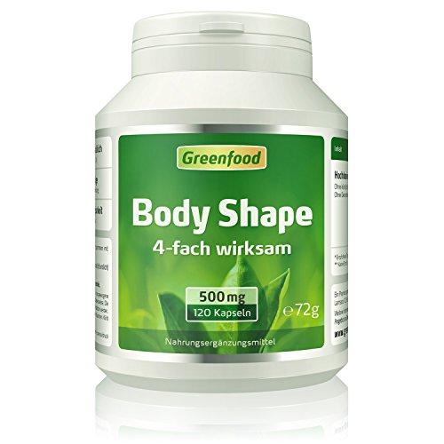 Body Shape, 500 mg, 4-fach wirksam, hochdosiert, 120 Kapseln - ohne künstliche Zusätze.
