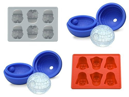 4 Set of Star Wars Silicone Ice Cube Molds: 2 Deathstar Balls, Stormtrooper, and Darth Vader by Super-Heroes