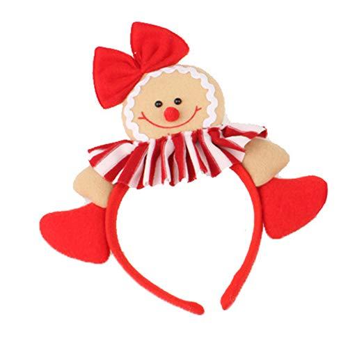 Hacoly Haarreif Weihnachten Stoff Lebkuchenmann Kopfschmuck Karnevalskostüme Puppe Haarreifen Kinder für Weihnachten Karneval Kostüm Cosplay Party-Frau