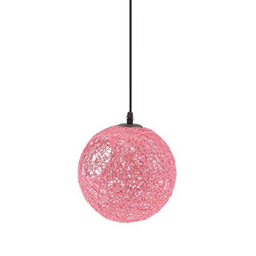 MagiDeal Landhaus Stil , E27 Rund Kugel Weidenkugel Decke Lampenschirm , mit Loch 20cm , mit Kabel 80cm , für Glühbirne Pendelleuchte Hängeleuchte Deckenleuchte Wohnzimmer Dekoration - Rosa (Glühbirnen Rosa)