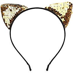 Huihong Womens Katze Ohr Haarband Pailletten Kopf Kette Schmuck Stück Haarband Urlaub Kopf Stirnband für Party Karneval (Gold)