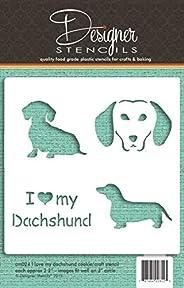 I Love My Dachshund Cookie and Craft Stencil CM024 by Designer Stencils