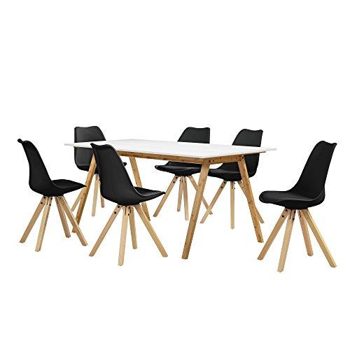 [en.casa] Esstisch Bambus weiß mit 6 Stühlen schwarz gepolstert 180x80cm Esszimmer Essgruppe Küche (Schwarzer Bambus Stuhl)