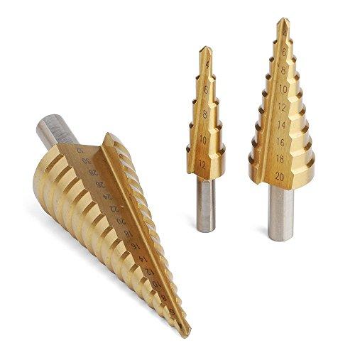 AUSSEL 3HSS Großer Stahl Bohrer Set 12/20/32mm w/Case Titanium beschichtet Schritt Bohrer-Set Lochschneider