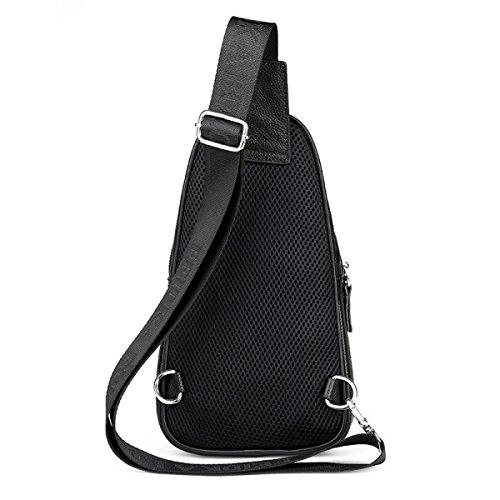 BULAGE Taschen Männer Taschen Freizeit Brustbeutel Leder Geldbeutel Kurier Atmungsaktiv Personalisiert Beweglich Stilvoll Wild Black