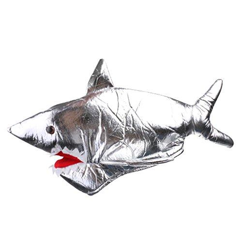 Gazechimp Karneval Zubehör Haifisch Mütze Silber zum Shark ()