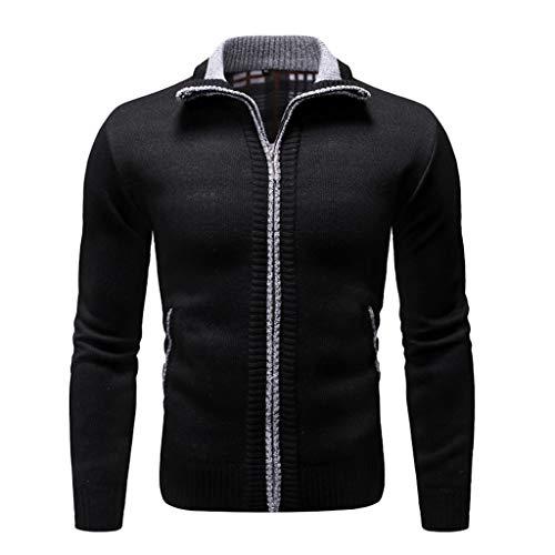 Realde Herren Mantel,Einfarbig Langarm Taschen Stehkragen Reißverschluss Outwear Jacket Plus Samt Coat Sweatshirt Herbst und Winter Arbeitskleidung Tunika Sweatjacke Strickpullover