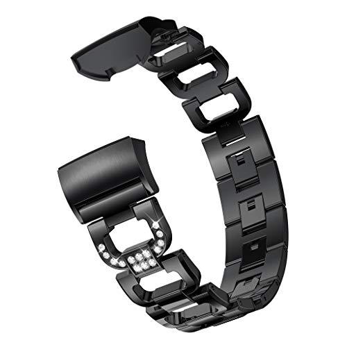 TianranRT D Wort Metall Armbänder Ersatz einstellbar Riemen Kristall für Fitbit Ladung 3 (Schwarz)