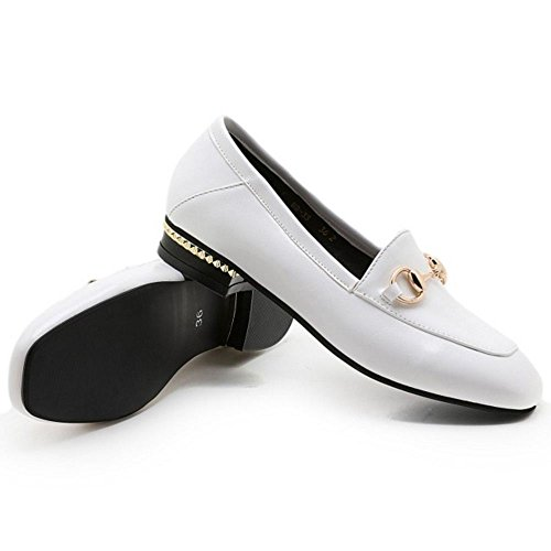 COOLCEPT Damen Vintage Buckle Brogues Schuhe Flach Formal Pumps Extra Sizes White
