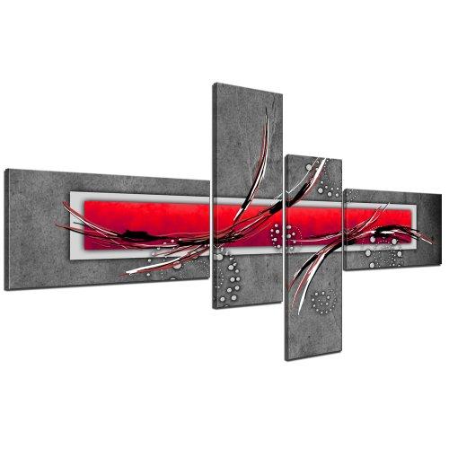 Cuadros en Lienzo - Arte abstracto II rojo - 140x65cm 4 partes - Listo tensa. Made in Germany!!!