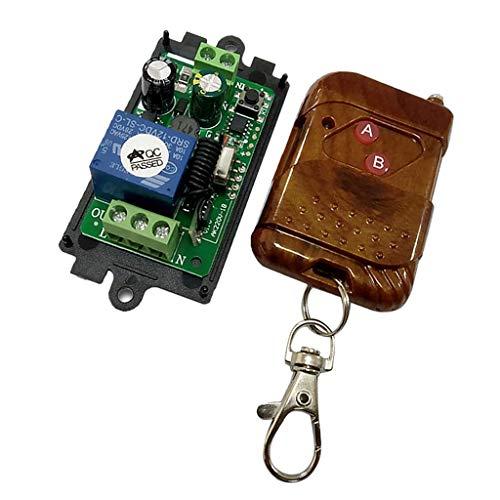 F Fityle Fernbedienung Schalter Relaisschalter Funkschalter mit Empfänger Modul für Garagentor Licht Vorhang Tür und Verschiedene Motorsysteme Steuern - Mahagoni 2 Tasten -
