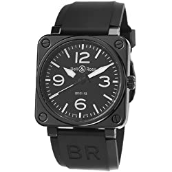 Bell & Ross Men's BR01-92-BLACK CERAMIC Avation Black Dial and Rubber Strap Watch
