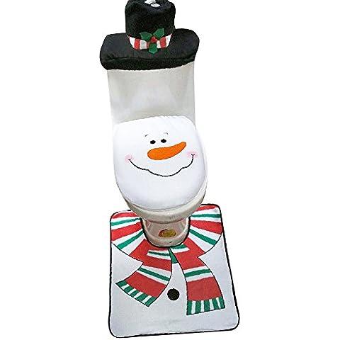 Aohro Conjunto de 3 decoración de Navidad Fudna de tapa del Inodoro Alfombra y Funda de Tanque de Inodoro - Negro