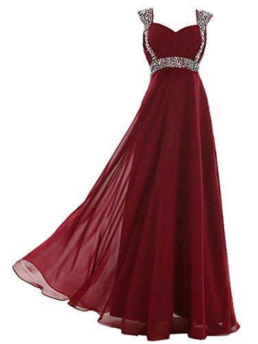 Edaier Damen Straps Perlen lange Abendkleider Ballkleid Größe 42 Burgund (Perlen Voll Gefüttert Abendkleid)