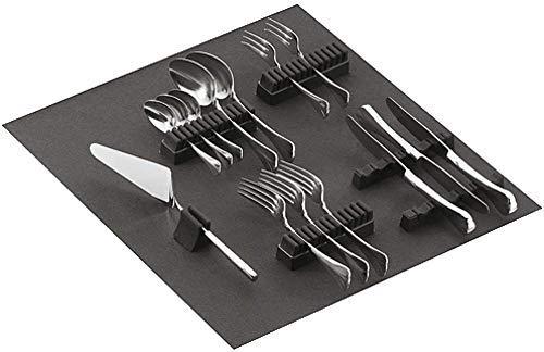 Gedotec Besteckhalter-Sortiment Besteckeinsatz selbstklebend mit Filzauflage | für 90-teiliges Besteck | Filz ist weinrot | Besteckeinlage für Schubladen & Schubkasten | 1 Stück