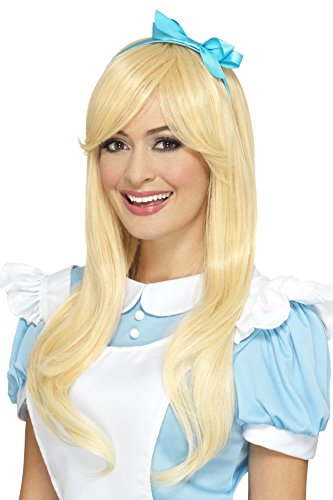 Smiffys Damen Deluxe Alice Perücke mit Haarband, One Size, Blond, 45044