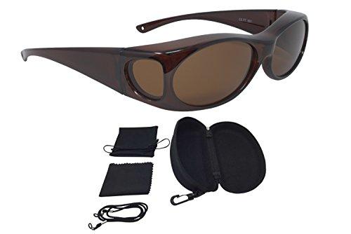 Überzieh Sonnenbrille Überbrille Sonnenüberbrille FASHION EDITION polarisiert UV 400 unisex inkl. Hardcase und Zubehör das Original aus dem TV (Braun, Braun)