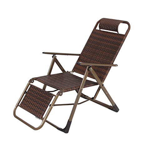 Wicker Tisch Stühle (YULAN Verstärkte Summer Recliner Klappstuhl Wicker Chair Büro Mittagspause Stuhl Strand Stuhl Outdoor Klappstuhl Robust, Langlebig)