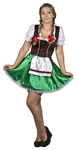 Tiroler Kostüm (BAYRISCHES OKTOBERFEST - DIRNDL KLEID VERKLEIDUNG = FRAUEN KOSTÜM IN DEN FARBEN BRAUN/GRÜN = DAS PERFEKTE KOSTÜM FÜR WIESEN GAUDI ODER BIERFESTE = AUCH SUPER FÜR FASCHING UND KARNEVAL =)