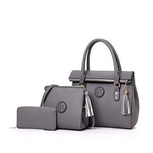 2009 Handtasche (Nannet 2009 Neue Art von Frauen - tüte koreanischen Ausgabe Trendige Suzi Mutter Tasche DREI stück Handtasche,dunkelgrau)
