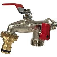 Aqua Control G6354 Grifo de Jardín Premium de Doble Salida 1/2\'\' - 3/4\'\'