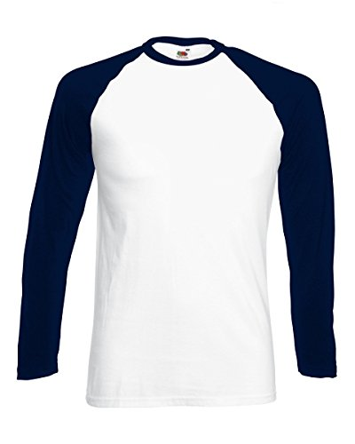 Fruit of the Loom -  Maglia a manica lunga  - Uomo White/Deep Navy