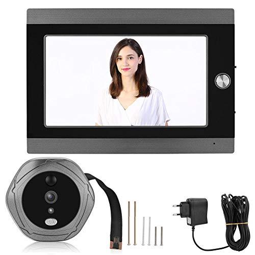 VBESTLIFE Timbre de Video WiFi Mirilla Digital Inteligente de la Puerta 7 Pulgadas Conexión de Cable Detección de Movimiento PIR y Visión Nocturna IR Control Remoto por App(EU.pulg)