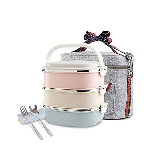 HOMESPON Lunchbox Snackbox mit 3 Unterteilungen Frischhaltedosenset Aufbewahrungsboxen,abbaubar und auslaufsicher mit Löffel Essstäbchen und Lunchtasche (Quadrat)