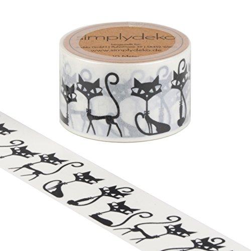 Simplydeko Washi Tape - Masking Tape 30 mm breit - Wundervolles Washitape Bastel-Klebeband aus Reispapier - Tiere Katzen (Katze Klebeband)
