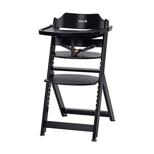 Safety 1st Timba Mitwachsender Hochstuhl, inkl. abnehmbares Tischchen, aus massivem Buchenholz, hohe Rückenlehne, ab ca. 6 Monaten bis ca. 10 Jahre (max. 30 kg), Buchenholz, deep black (schwarz)