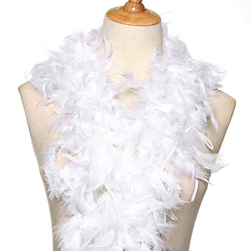 Feather Kostüm White Dress - Handwerk Lieferungen und Leistungen Cosplay Dekoration der Partei Fluffy Feather Boa Strip Federn Gewebe aus Bekleidung Zubehör für Grammatik(White)