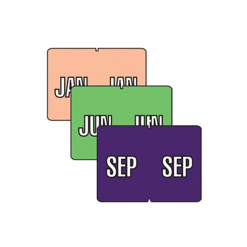 Smead mensual color-coded etiquetas, Jan. -dec., varios colores (22075)