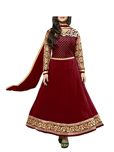 Vibes Women Georgette Patch Work Unstitched Salwar Kameez Dress Material (V20-21001 _Red _Free Size)