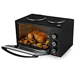 Tower Others Mini Oven with 2 Hot Plates and Grill, 1000 W, 28 Litre, Black