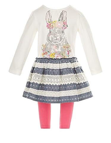 Monsoon Children Ensemble robe en chambray motif lapins pour bébé - Bébé fille - 3-6 mois