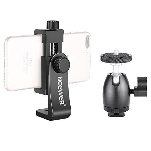 Neewer Smartphone Halter Klemme Tisch Stativ Halterung mit Mini Kugelkopf Blitzschuh Adapter für 14 Zoll und 18 Zoll Ringlicht sowie iPhone, Samsung, Huawei Smartphone von 1.9-3.9 Zoll Breite