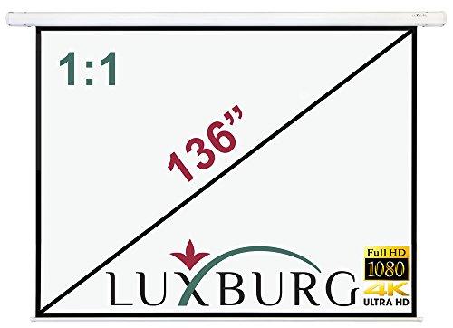 """Luxburg Motor Leinwand 244x244 cm (Diagonale ca. 136\"""" Zoll / 346 cm) Full HD 3D Beamer Leinwand elektrisch mit Fernbedienung - zur Deckenmontage/Wandmontage, mattweiße Oberfläche, Modell 2015"""
