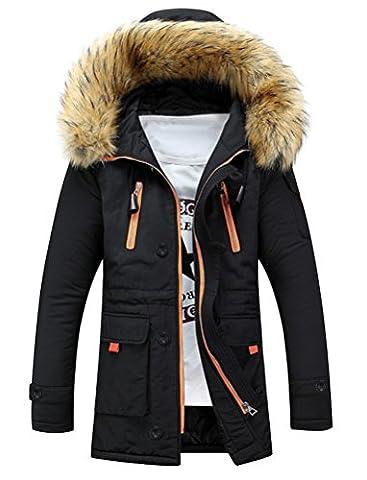 Manteau Classique Long Homme - Brinny Homme Hiver Long Manteau à Capuche
