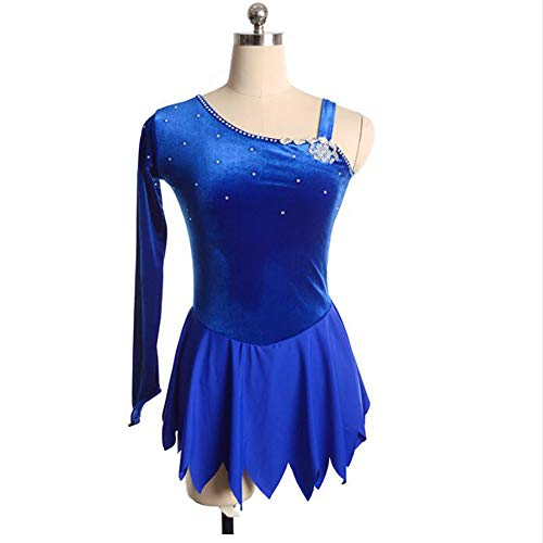 XIAOY Frauen Wettbewerb Kostüm Eiskunstlau Fkleidung Langä Rmelige Eiskun Stlauf Kleid für Mädchen,Blue,XXS