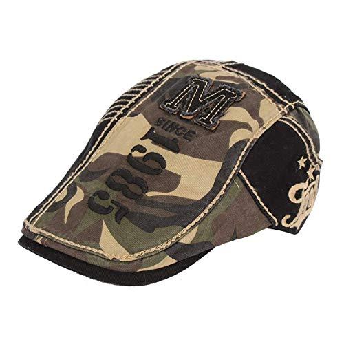 Cap Gatsby Kappe Jungen Camouflage Schiebermütze Chic Vintage Mode Freizeit Unisex Herren Damen Cabbie (Color : Grün, Size : One Size) ()