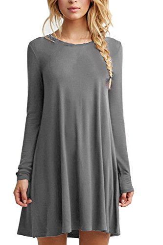 Casual lâche Swing Party Dress des femmes Grey