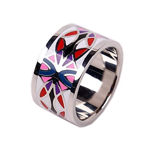 prettystern Farbenfroh Emaillierter versilberte Schal-Ring Tuch-Ring mit Samt Säckchen - Silber 1
