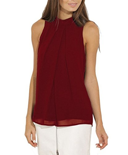 Smile YKK Femme Couleur Uni T-shirt sans Manche en Chiffon Vogue Top Souple Bordeaux