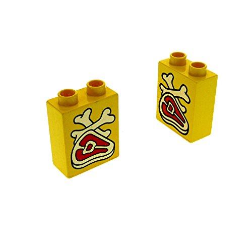 2 x Lego Duplo Motivstein gelb 1x2x2 bedruckt Fleisch Knochen Steak Bild Bau Stein 4066 pb012 -