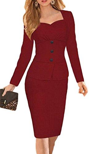 Bigood Vogue Col V Robe Bouton Manche Longue Hanche Jupe Uni OL Rouge