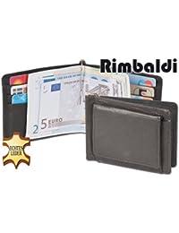 Rimbaldi - Kleine Geldbörse mit Geldclip und Außen-Hartgeldfach aus weichem, naturbelassenem Kalbsleder